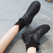 Women Winter Wearable Solid Color Knitting Splicing Flat Boots