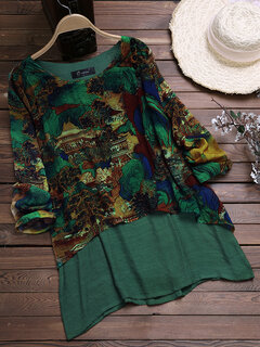 Vintage Chiffon Print Patchwork Plus Size Blouse for Women