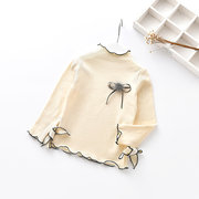 Stand Collar Toddler Girls Long Sleeve Spring Autumn Shirt Tops For 2Y-9Y