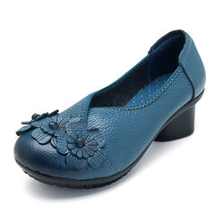 Leather Mid Heel Vintage Handmade Flower Original Soft Shoes