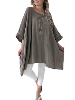 Casual Oversize Solid Color 3/4 Sleeeve Camicia