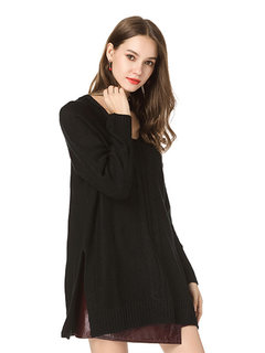Casual V-neck Solid Color Sweaters for Women