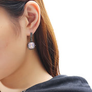 JASSY® Vintage Women Earrings Elegant Platinum Plated Black Gemstone Inlay Square Pendant Ear Stud