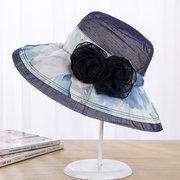 Women Summer Elegant Velvet Flower Wide Brim Floppy Bucket Hat Outdoor Sunscreen Cap