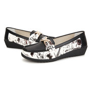 Floral Print Color Match Bowknot Metal Flat Round Toe Soft Slip On Ballet Loafers