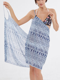 Multi-way Wear Printed Sunscreen Cover Up Beachdress Swimwear Swimsuit For Women