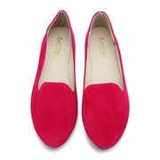 Suede Candy Color Simple Slip On Round Toe Ballet Flat Loafers