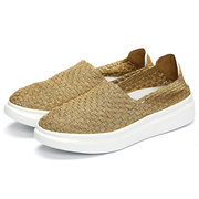 Pure Color Breathable Slip On Flat Casual Elastic Sport Shoes