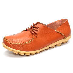 Soft Sole Pure Color Leather Lace Up Casual Flat Loafers