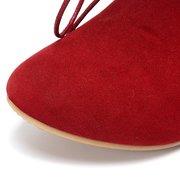 Увеличение каблука на шнуровке Pure Color Mid теленка Плоский Ботинки