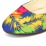 Grande Formato Multi Color Piuma Floreale Pattern Stripe Slip Su Mocassini Piatti
