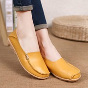 SOCOFY Big Size Pure Color Soft Slip On Leather Casual Comfortable Lazy Flat Shoes