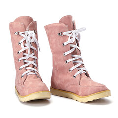 Big Size Sweet Candy Color Lace Up Warm Mid Calf Boots