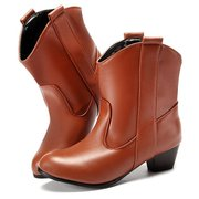 Big Size Pointed Toe Pu Slip On Ankle Square Heel Boots