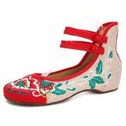 Цветочные Принт Color Match Китайский Национальный Стиль Винтаж С Пуговицами Плоские Обуви