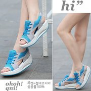 Hollow Out Color Match Casual Fish Mouth Lace Up Shook Platform Sandals