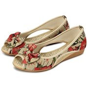 Scarpe con stampa floreale Bowknot Vintage Hollow Out Open Toe