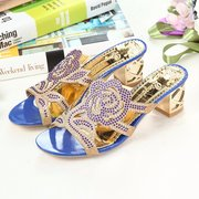Rose Floral Rhinestone Beaded Crystal Peep Toe Hollow Out Slip On Slippers