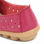 Leather Pure Color Hollow Out Breathable Soft Sole Slip On Flat Shoes