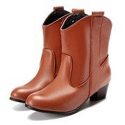 Big Size punta punta Pu Slip sul caviglia Square Heel Boots