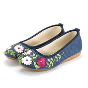 Flower Print Colorful National Wind Slip On Flat Shoes