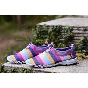 Rainbow Colorful Striper Mesh For Women Breathable Slip On Flat Sport Shoes
