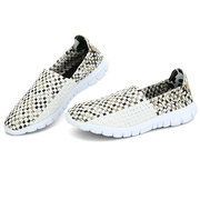 Men Women Lover White Color Match Handmade Knitting Slip On Flat Outdoor Sport Shoes