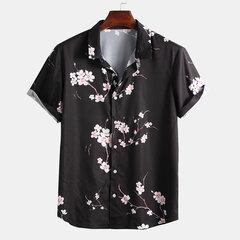 رجل النمط الصيني Wintersweet مطبوعة رفض طوق قمصان قصيرة الأكمام فضفاضة عارضة