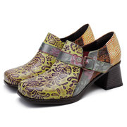 SOCOFY Genuine Leather Vintage Flowers Splicing Pattern Buckle Block Heel Zipper Pumps