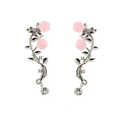 Elegant Pink Flower Womens Cuff Earrings Fashion Silver Gold Color Piercing Clip Earrings
