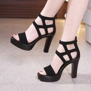 Roman Sandals Women's Season Super High Heels Open Toe Fine With Waterproof Platform Back Zipper T Model Catwalk Shoes