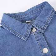 2Pcs Girls Button Pockets Shirts Long Jeans Sets For 4Y-15Y