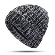 Men Winter Wool Knit Cap Warm Thick Vogue Vintage Outdoor Casual Snow Ski Cycling Beanie