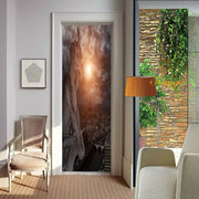 Decorative Stickers on Door Beautiful Paris Building 2 Sets 3D Wall Stickers Creative PVC Removable