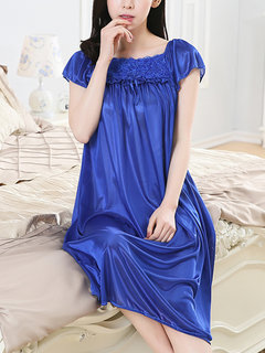 Women's Sleep Dress Square Collar Solid Lace Patch Midi Sleepwear