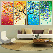 4pcs Canvas Wall Art Painting Pictures Season Trees Print Hall Decor