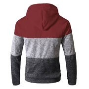 Mens Breathable Modish Striped Patchwork Drawsring Hat Zip Up Hoodies Casual Hooded Tops