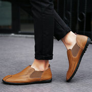 Men Stitching Elastic Panels British Style Flat Soft Low-top Casual Shoes