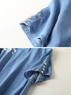 Denim Embroidery Short Sleeve Button Casual Dresses