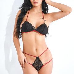 Conjuntos de sujetador y panty de tanga transparente de encaje de lencería sexy