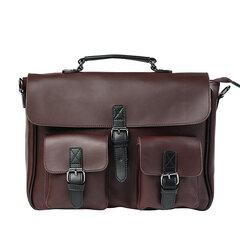 الرجال فو الجلود براون الصلبة حقيبة الأعمال حقيبة كمبيوتر محمول حقيبة الكتف حقيبة حقيبة