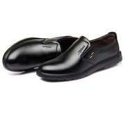 Men Pure Color Leather Slip Resistant Slip On Casual Shoes