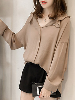 Casual Long Sleeve Solid Color Wave V-neck Shirt