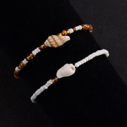 Bohemian Shell Anklet Handmade Colorful White Beaded Anklet Ethnic Jewelry for Women