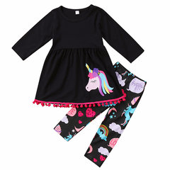 2Pcs Animal Printed Tass Decor Girls Clothing Sets Tracksuit For 1Y-5Y