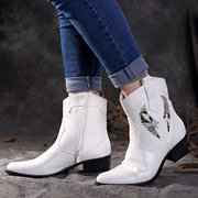 SOCOFY Cowgirl Stitching Pattern Splicing Sequined Pointed Toe Zipper Soft Casual Flat Ankle Boots