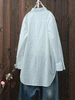المرأة الصلبة اللون فضفاض عارضة قمصان طويلة الأكمام