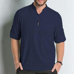 Mens Brief Fashion Stehkragen Drei Viertel Sleeve Casual Buttons T-Shirt Tops
