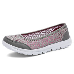 Breathable Lace Slip On Soft Sole Flat Casual Shoes