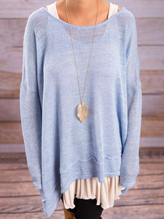 Casual Knit Asymmetrical Long Sleeve Pullover Shirt